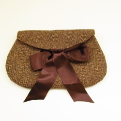 chcolate tweed clutch