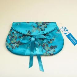turquoise jacquard clutch