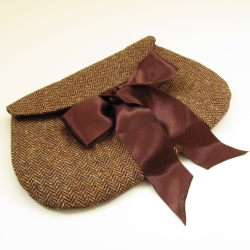 chocolate tweed clutch