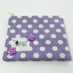 purple sausage dog purse