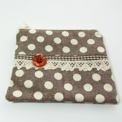 brown gingham button coin purse