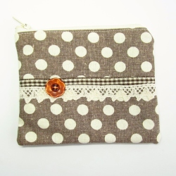 brown gingham button purse