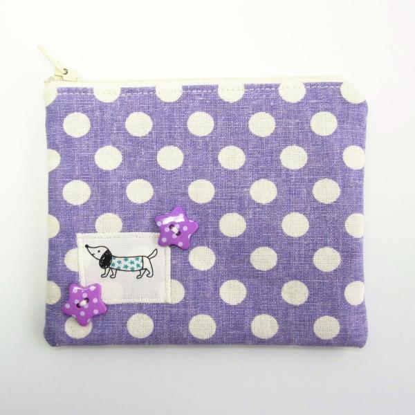purple dachshund purse